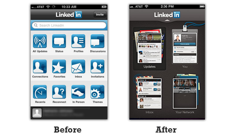 LinkedIn mobile design change